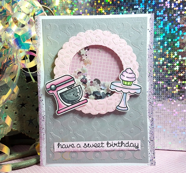 Pink Shaker Birthday card with Lawn Fawn stamp set. cake mixer, cupcake, stars, sequins, have a sweet birthday.