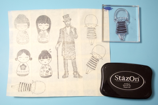 StazOn is used on masking tape to create the template for cut out.