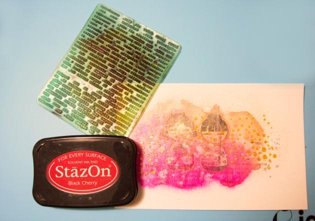 Use StazOn on top of Creative Medium texture.