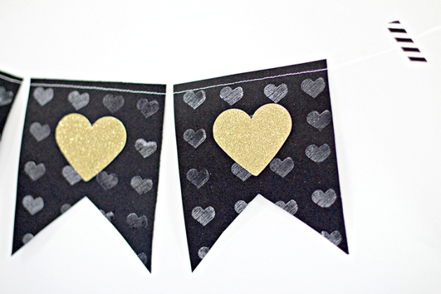 jessica litman creates this beautiful banner for Valentine's Day using Delicata White Shimmer and Imagine Embossing Clear.