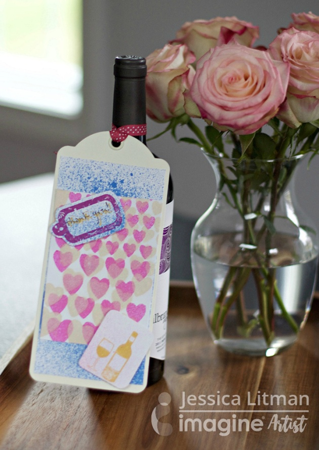 Jessica Litman makes a wine bottle tag for Valentine's Day.
