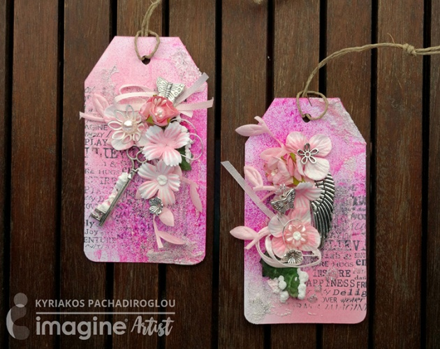 Kyriakos creates pink Valentine's card tags that could go well with any gift! Rose Color of the Month.
