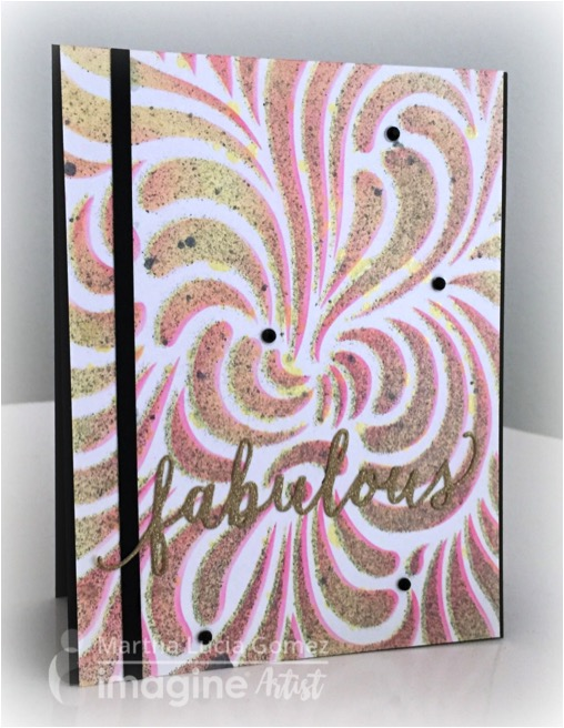 Martha Lucia Gomez creates a card with Fireworks and On Point Glue. yellow, black, pink, gold.