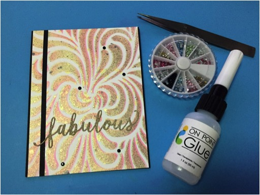 Fabulous Shades Of Fireworks by Martha Lucia Gomez. With the On Point Glue, you can control the amount of glue for intricate projects and delicate details as die cuts and rhinestones like I did on greeting card.