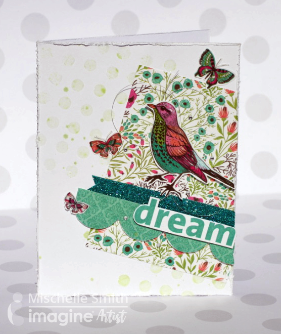 Mischelle Smith creates a handmade Dream card. teal, green, red, butterflies, birds, texture, flowers, washi tape.