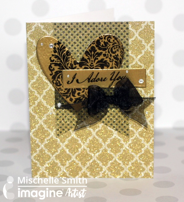 Gold on Gold Valentine's Day card with StazOn ink and Gold Embossing Powder