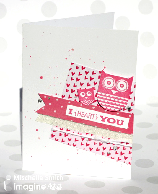 Mischelle Smith creates a cute card using Memento Luxe and Fireworks Craft Spray.