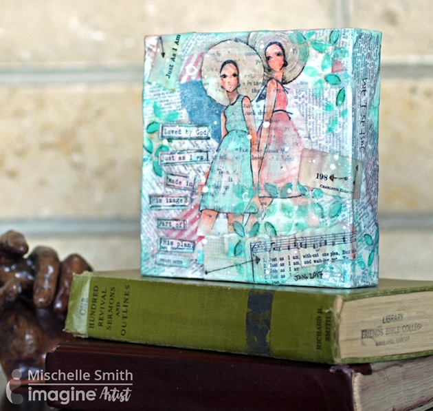 Mischelle Smith creates this wonderful mixed media project with two lovely ladies.