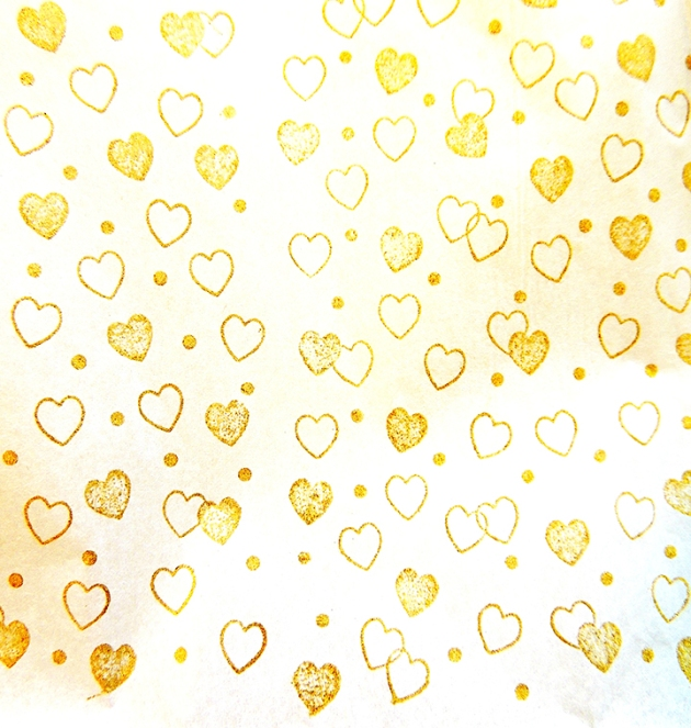 Gold Hearts on Tissue Paper