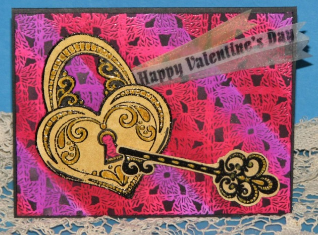 Ron Johnson uses hand carved stamps from Hoffee and a Nuffin to make a handmade Valentine's Card using Kaleidacolor and VersaFine inks.