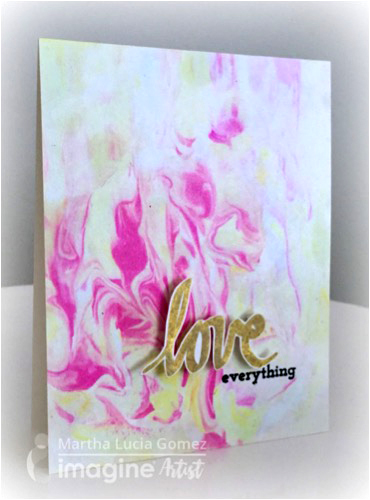Martha creates a marbled paper with Fireworks spray