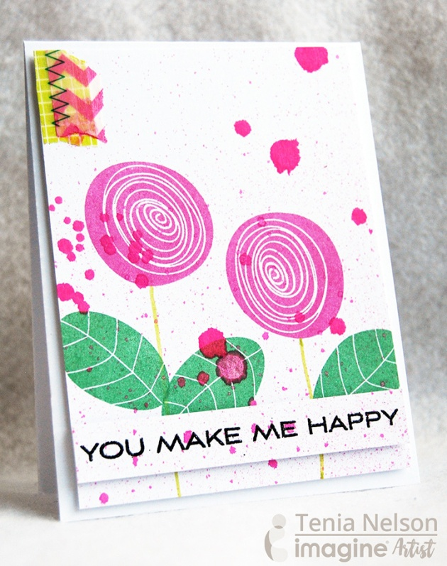 Tenia Nelson uses Fireworks Craft Spray to add sass to this cute and simply greeting card.