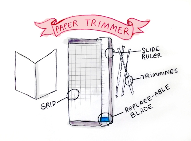 Drawing representing a basic paper trimmer.