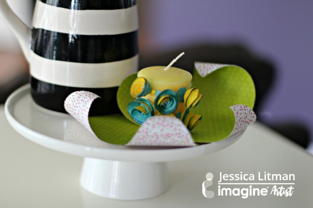 Papercraft and candles. Make your space come alive this spring with blue, green and yellow.