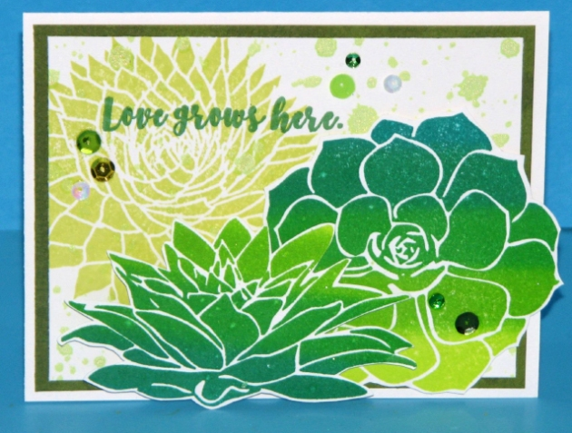 Love Grows Here by Roni Johnson. Imagine + Tsukineko products. Memento ink. Green, succulents, spring, greeting card.