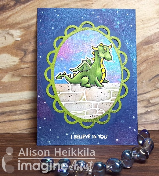 I Believe in You by Alison Heikkila. Dragon stamp by Lawn Fawn. Blue, green, brick, stars, pink, galaxy.