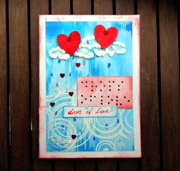 Drops of Love Handmade Card with red heart and Braille
