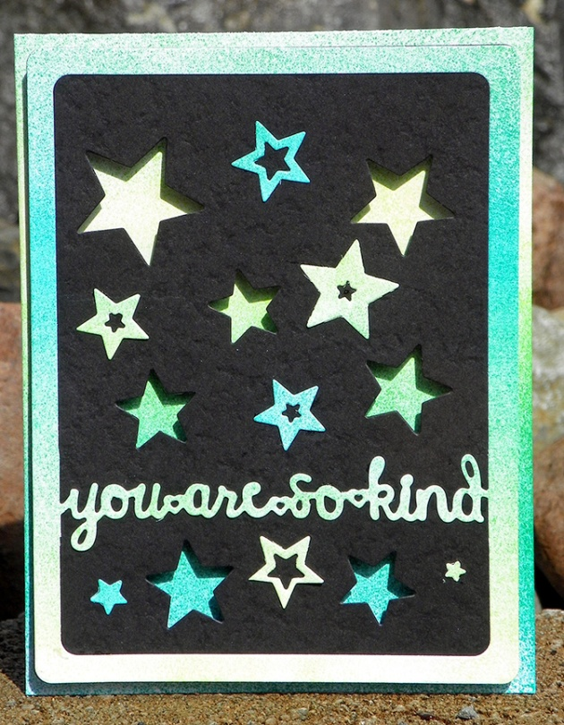 You are so kind by Neva Cole. black cardstock, green, stars, spring, sparkle.