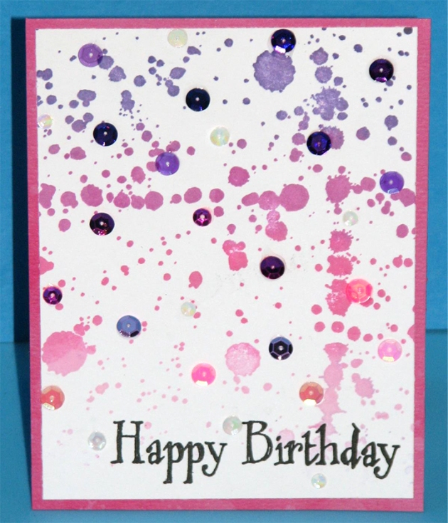 Happy Birthday splatter card by Roni Johnson. Purple, magenta, pink, sequins, ink, stamp, black. cardstock.
