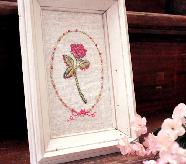 Use Stamps for Stitching by Jennifer Vanderbeek. pink rose embroidery thread. green, white frame.
