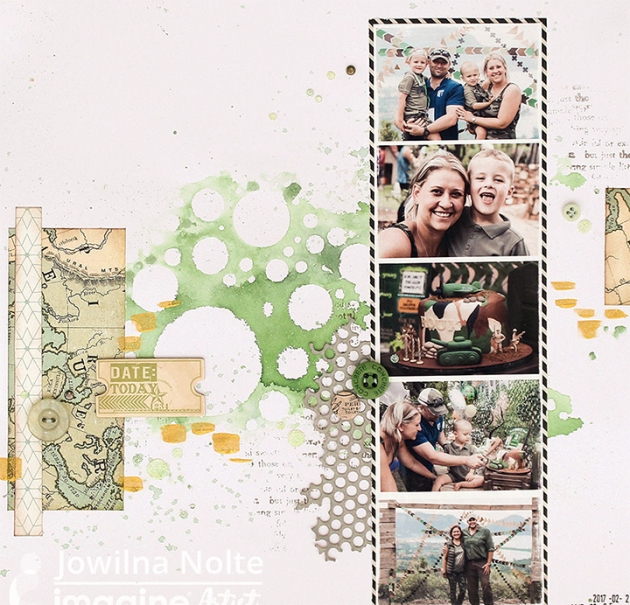 Reverse stencil technique or using a stencil like a stamp by Jowlina Nolte. Green, gold, shimmer, scrapbook page, family, photos, memories.
