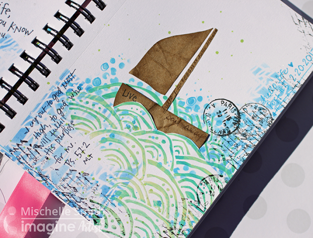 Paper Waves fill a journal page