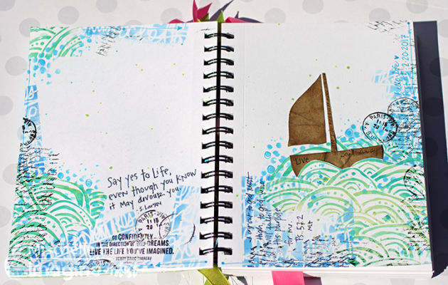 Art journal featuring a sailboat and ocean waves.