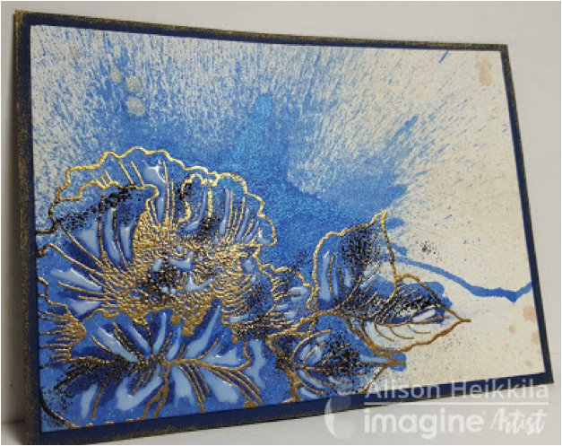 gold poppy flowers embossed. watercolor splatter effect with Fireworks shimmer spray ink.