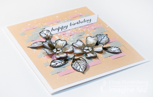 beautiful birthday card using versafine ink and paper weaving technique. coral, pink color paper.