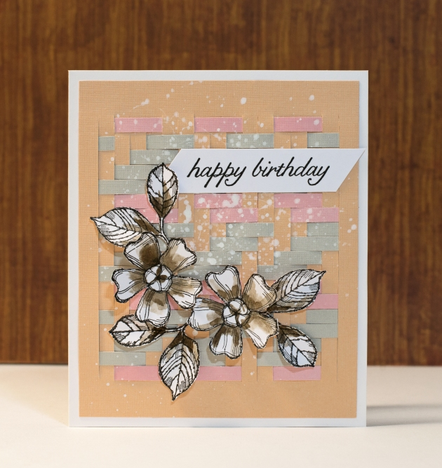 Happy Birthday Card with weave background, flowers, black, pink, grey, coral colors.