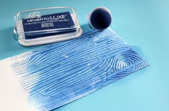 Danumbe Blue Memento Luxe ink an embossed surface