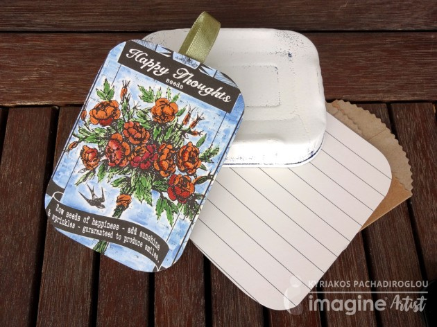 Happy Earth Day from Imagine. Kyriakos has created a lovely seed tin as a gift using Fabrico Markers, VersaMark and Embossing Powder.
