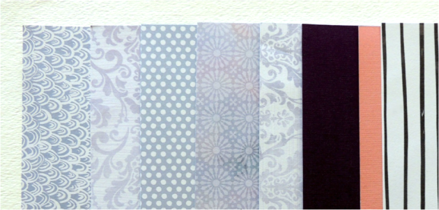 spread of blue, lavender, striped, polka dots patterned paper from DCWV.