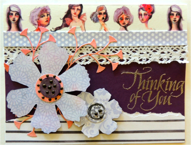 Girl themed Thinking of You card with die cuts. Perfect for the fashionista in your life. DCWV paper.