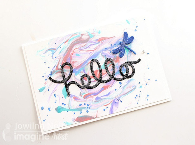 Hello marbleized card with blue dragonfly tsukineko ink