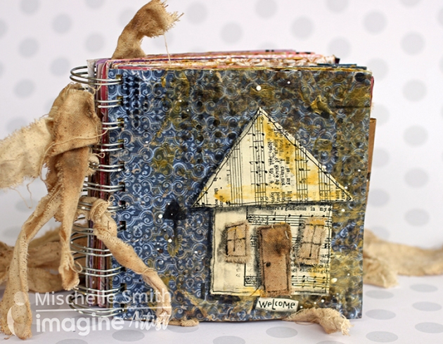 Cute tiny house mini album by Mischelle Smith using Tsukineko and Imagine products.