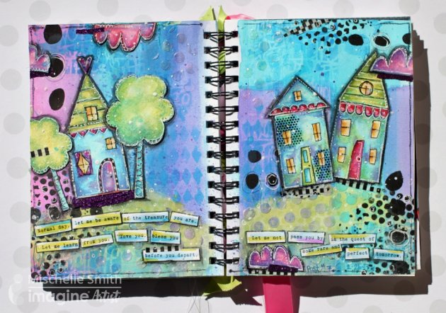 Shimmery Journal Page with little houses