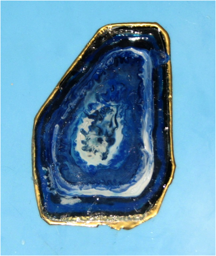 Finished Faux Agate piece. Blue Hawaii, Midnight Blue, Black and gold Tsukineko inks.