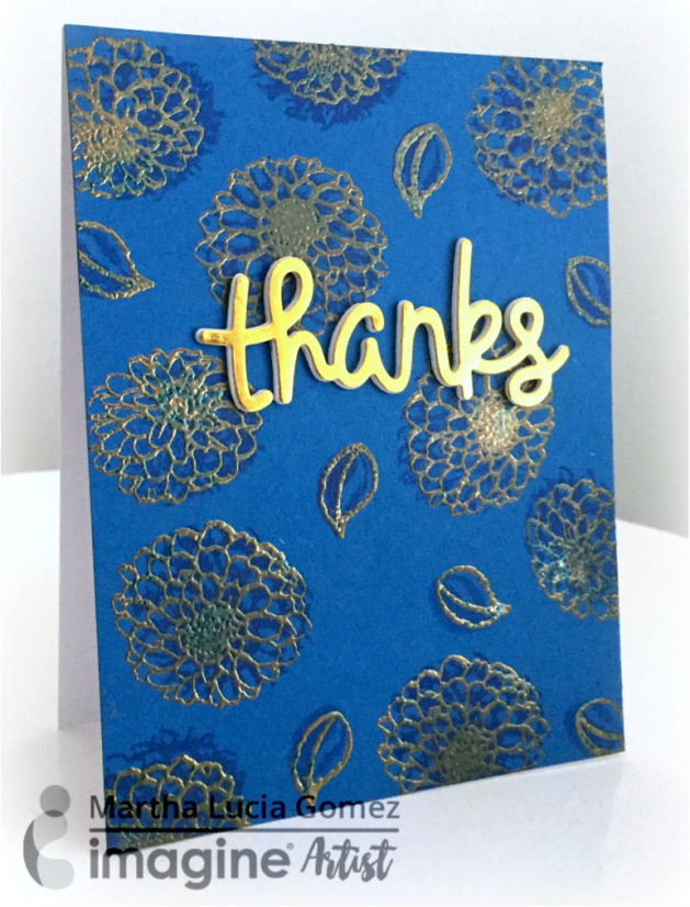 blue gold thank you card tsukineko Layered Dahlias Stamp Set