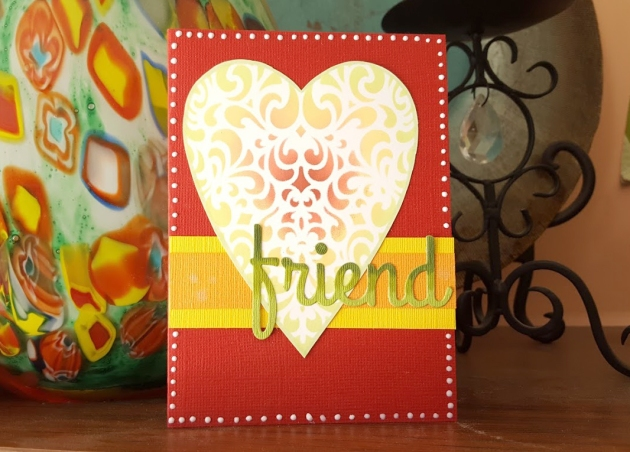Using VersaMagic inkpad for blending ink on a handmade Friend Greeting Card