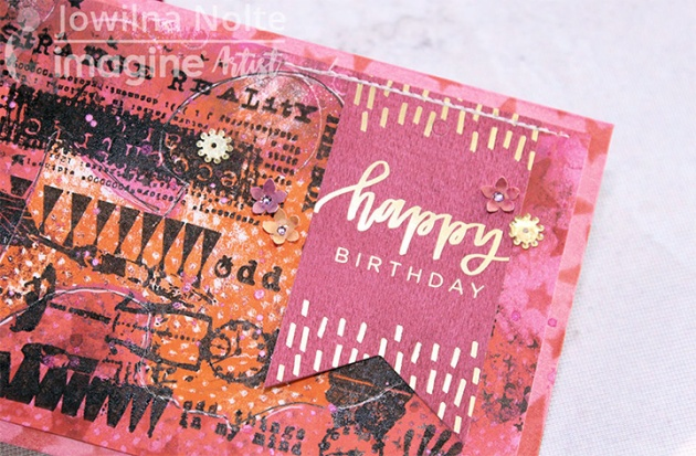 crafting a mixed media birthday card