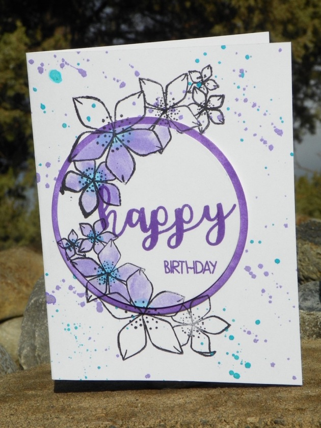 Blending with Memento Inks. purple flowers, splatter ink, happy birthday card