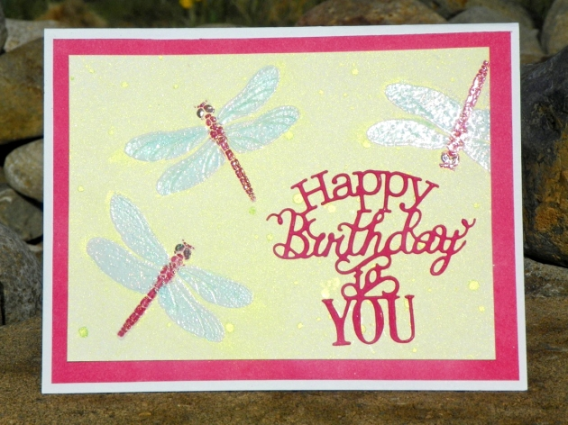 happy birthday card with dragonflies
