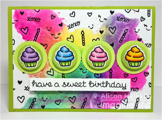 Create a Background with the Extras in Your Stamp Set. Super Cute Cupcake Card colored with Memento markers.