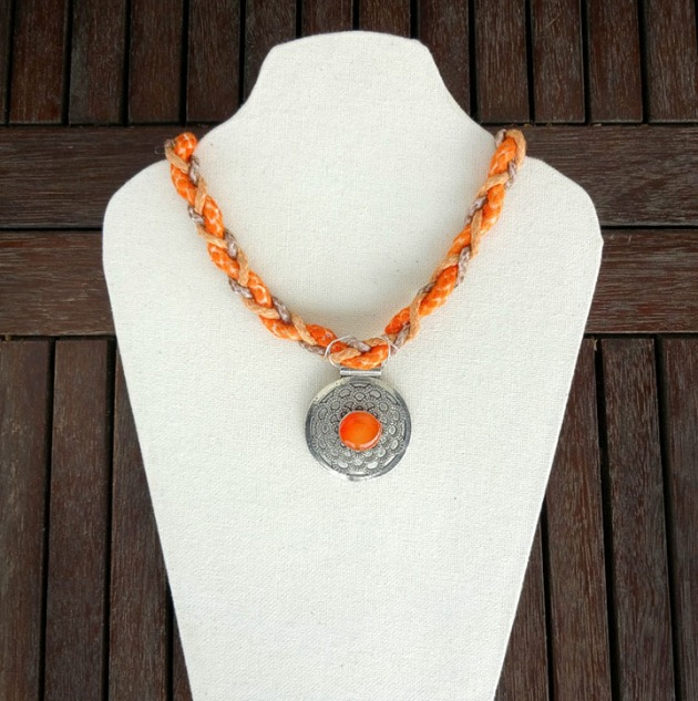 Tangerine braided necklace imagine crafts tsukineko