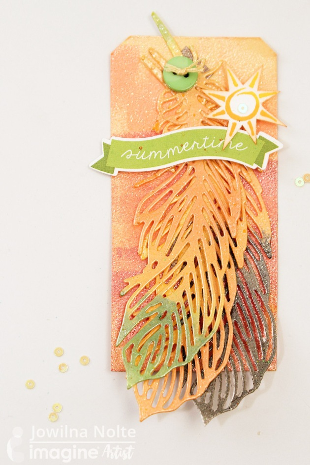 See How to Make a Gold Embossed Summertime Tag