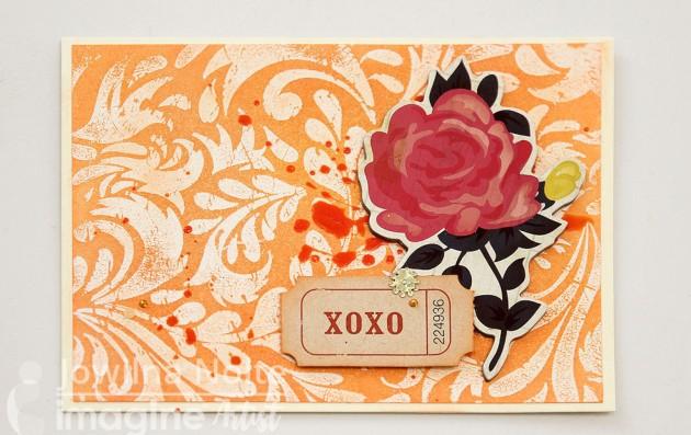 Handmade card with red rose on orange background Hero Arts crafts xoxo