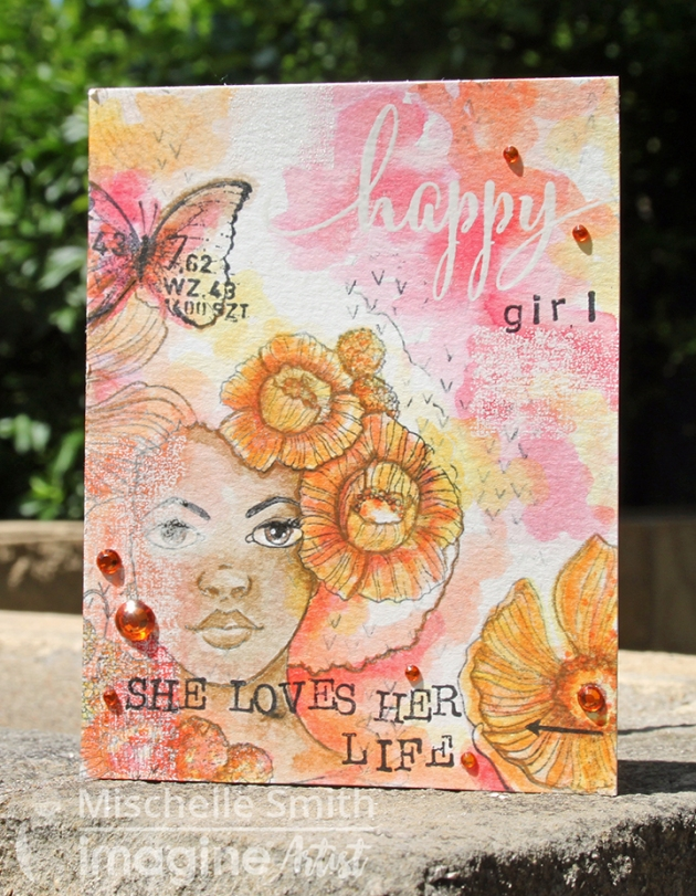 Make a Happy Girl Card Watercolored with Mementos
