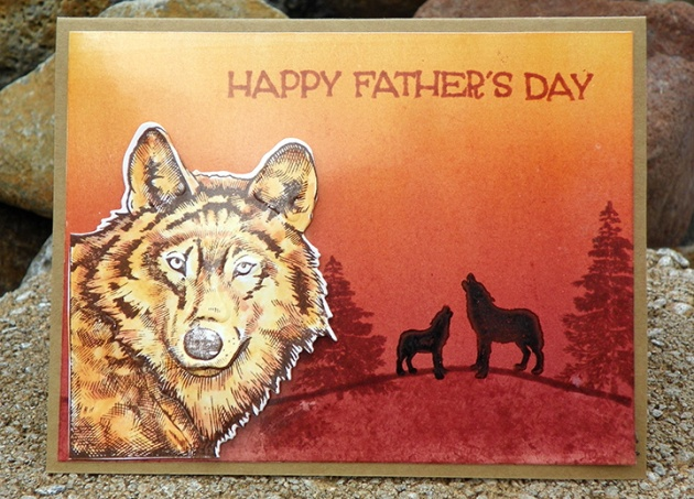 Wolves Father Day Card orange background