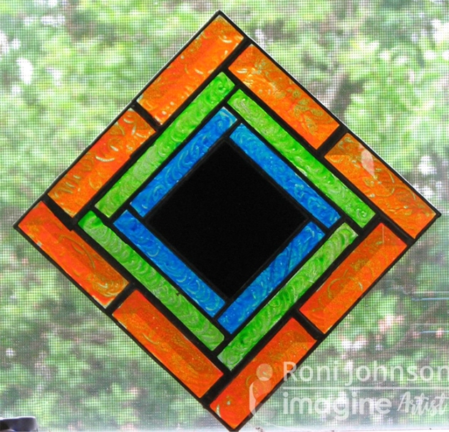 Stain Glass Mirror using stazon studio glaze